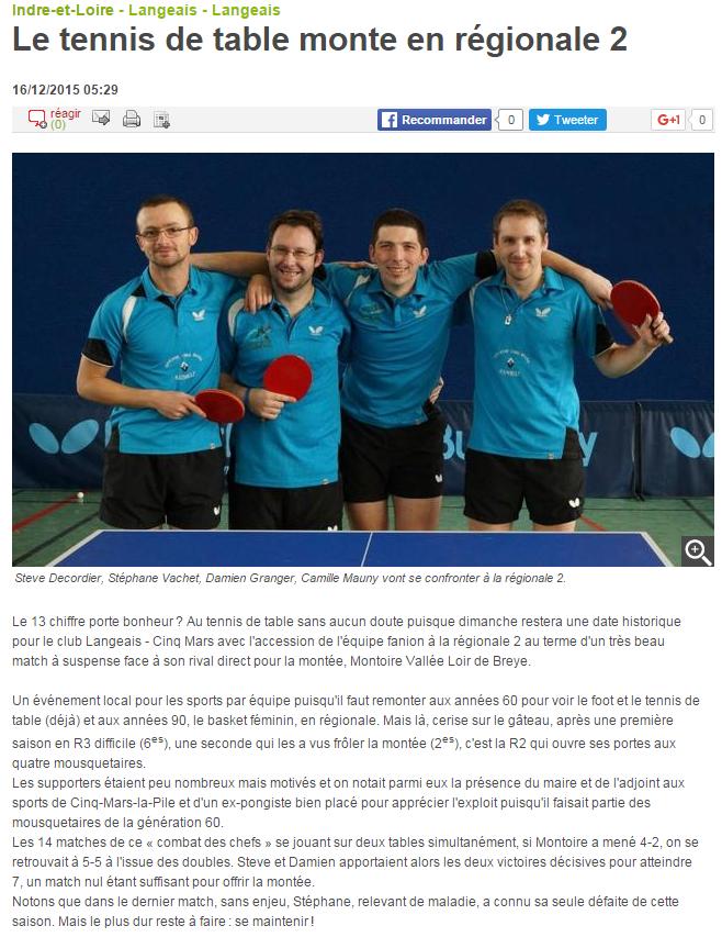Le tennis de table monte en régionale 2 16 12 2015 Langeais 37 La Nouvelle République