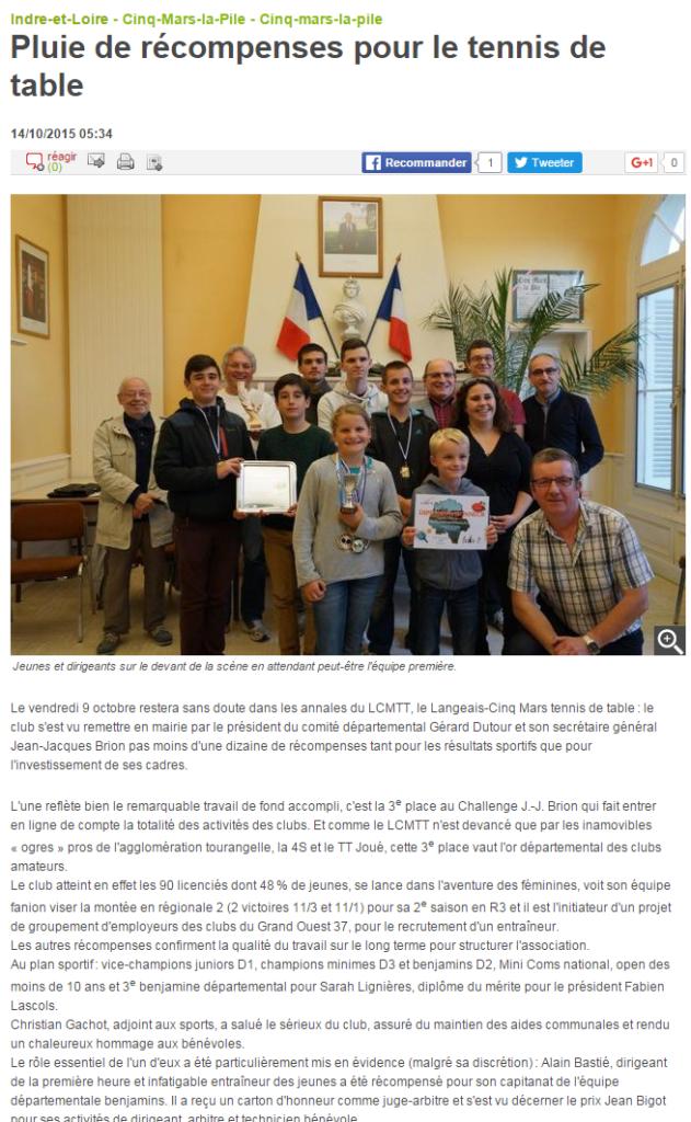 Pluie de récompenses pour le tennis de table 14 10 2015 Cinq Mars la Pile 37 La Nouvelle République