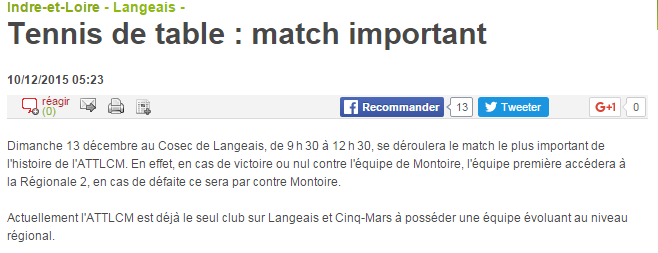 Tennis de table match important 10 12 2015 Langeais 37 La Nouvelle République
